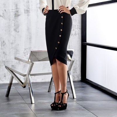 Miarte 17347 Button Skirt BLACK