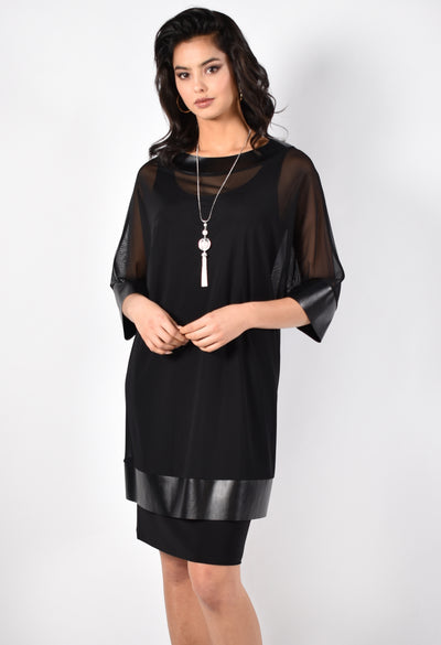 Frank Lyman 213435 Dress-Tunic-Necklace BLACK