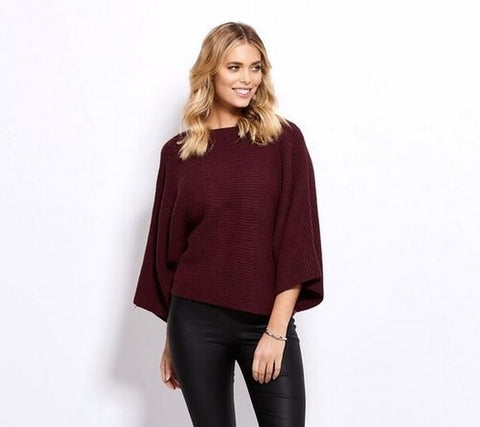 Holmes Fallon HF1462 Bat Sleeve Top WINE