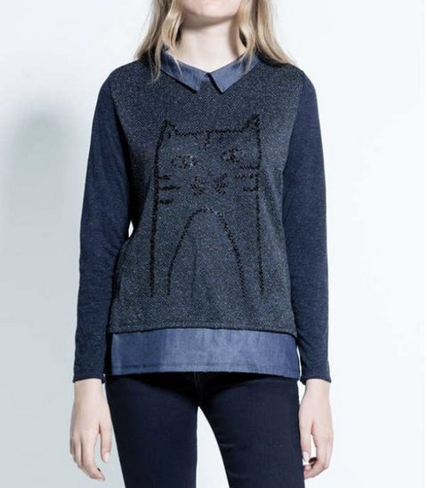 Kalisson KA171034 Cat Motif Top INDIGO
