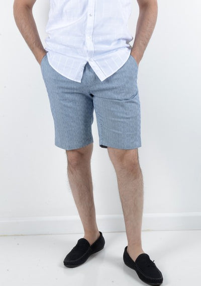 BOB SPEARS STRETCH MINI STRIPE SHORT BLUE