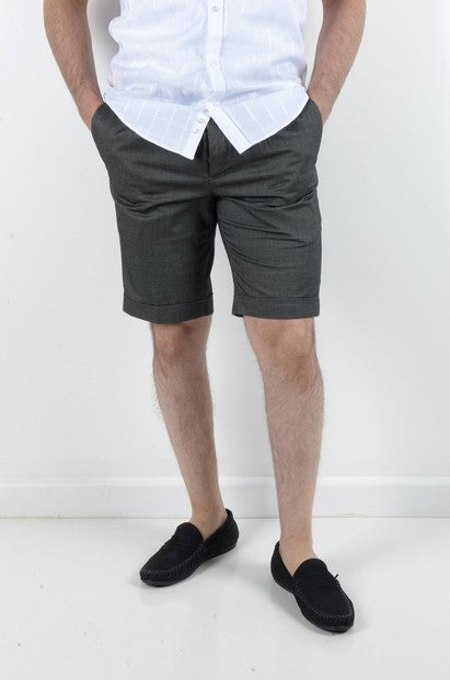 BOB SPEARS PLEATED STRETCH SHORT CHARCOAL