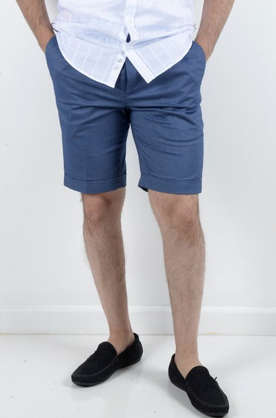 BOB SPEARS PLEATED STRETCH SHORT BLUE
