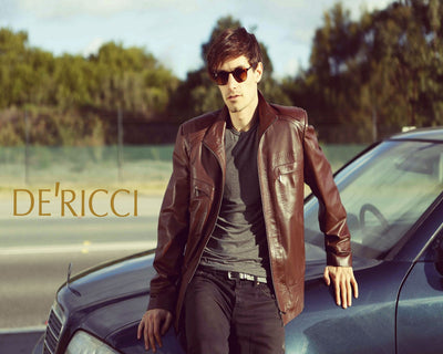 De Ricci Leather Jacket BROWN