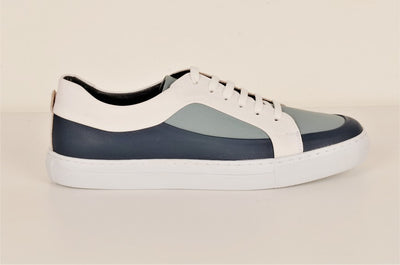 LAFENI 02 PANELLED LEATHER LACE UP SNEAKER BLUE