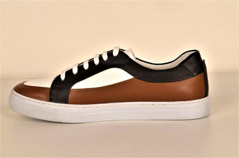 LAFENI 02 PANELLED LEATHER LACE UP SNEAKER MOCCA