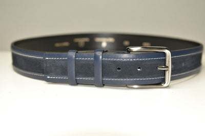 P&S MICHAEL 38MM LEATHER BELT NAVY