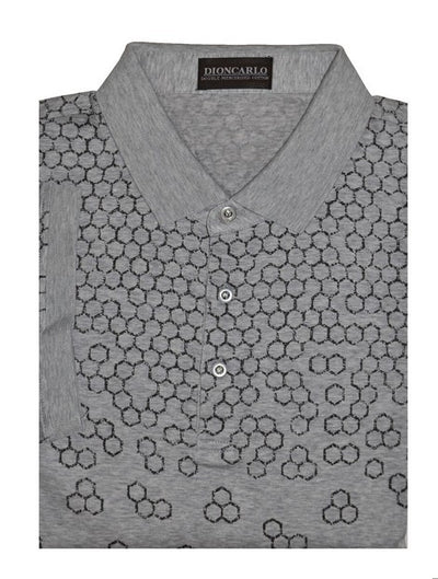 DION CARLO 609 SHORT SLEEVE POLO TOP GREY