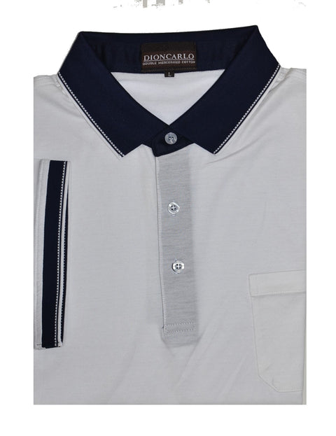 DION CARLO 163 SHORT SLEEVE POLO TOP WHITE