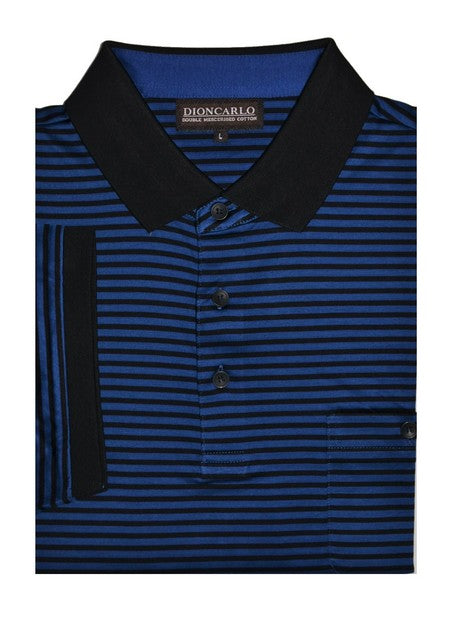 DION CARLO 611 SHORT SLEEVE POLO TOP BLUE
