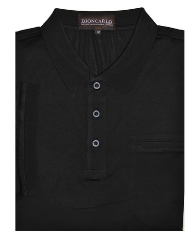 DION CARLO 1330 SHORT SLEEVE POLO TOP BLACK