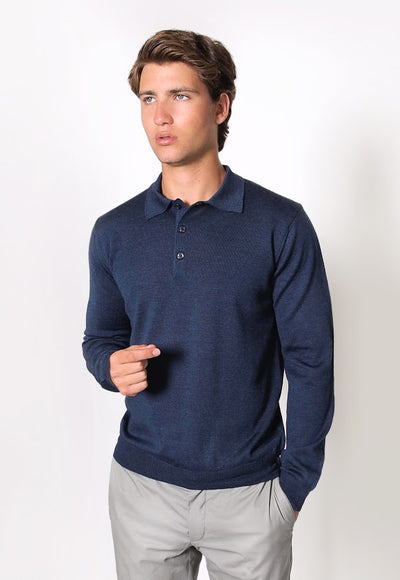 FRATELLI 3 BUTTON POLO SHIRT NAVY