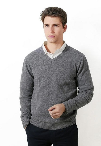 FRATELLI 4703 WOOL/CASHMERE VEE PULLOVER CHARCOAL