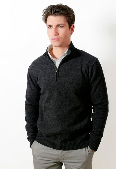 FRATELLI 4705 WOOL/CASHMERE 1/4 ZIP PULLOVER CHARCOAL
