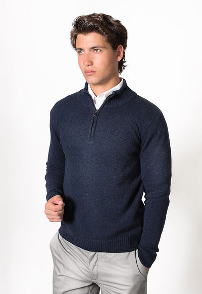 FRATELLI 4705 WOOL/CASHMERE 1/4 ZIP PULLOVER NAVY