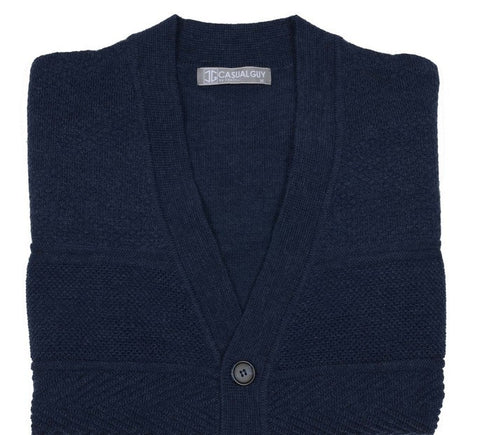FRATELLI 701 PURE MERINO WOOL CARDIGAN NAVY