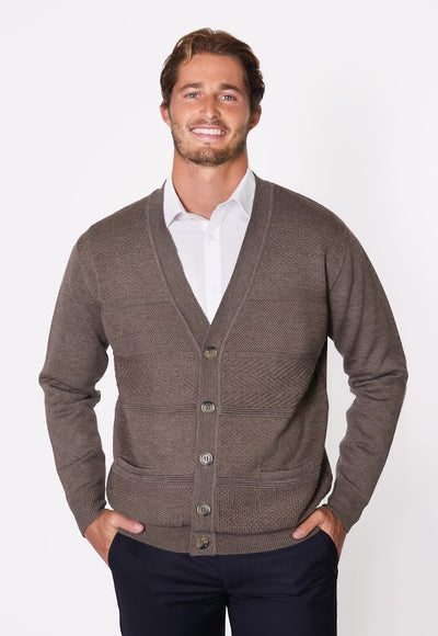 FRATELLI 701 PURE MERINO WOOL CARDIGAN BROWN