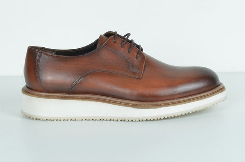 LAFENI 1540-1 LEATHER CASUAL LACE-UP SHOE TOBACCO