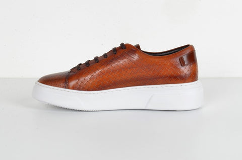 LAFENI 5730 PLAITED LACE-UP TOBACCO