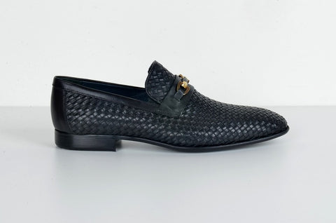 LAFENI 2976 PLAITED LEATHER SLIP-ON SHOE BLACK