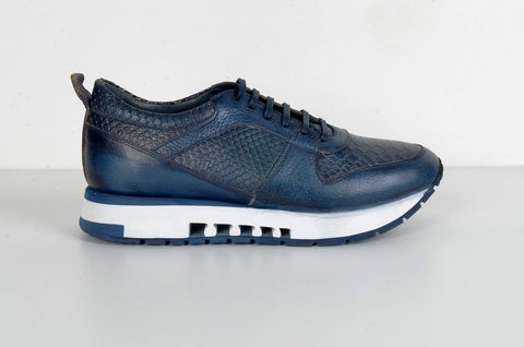 LAFENI 5550-1 CROC PRINT LEATHER SNEAKER NAVY