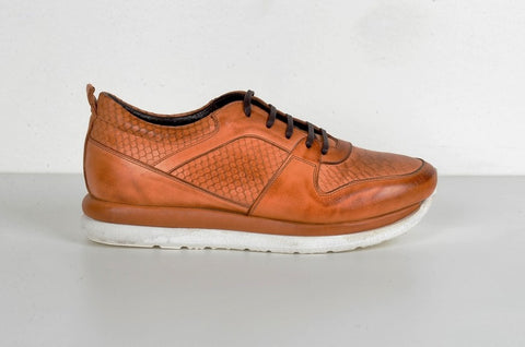LAFENI 5550-1 CROC PRINT LEATHER SNEAKER TOBACCO