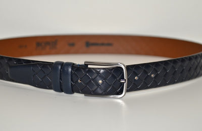 BOND 1874 PLAITED LEATHER BELT NAVY