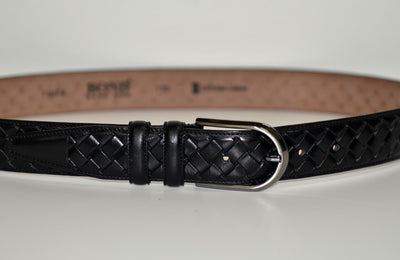 BOND 11074 PLAITED LEATHER BELT BLACK