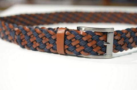 BOND 805 PLATTED LEATHER BELT NAVY