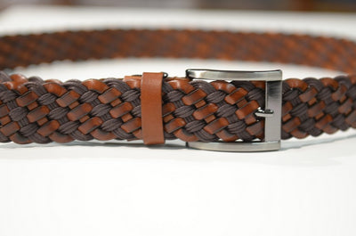 BOND 805 PLATTED LEATHER BELT BROWN