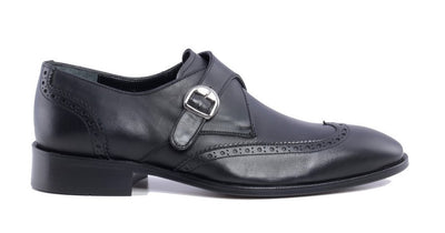 PSM Burnished Wingtip Monk Strap BLACK