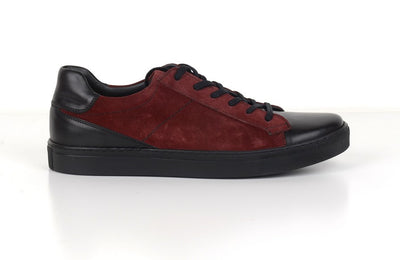 RIVALI 7577 SUEDE LEATHER LACE UP SNEAKER BORDO