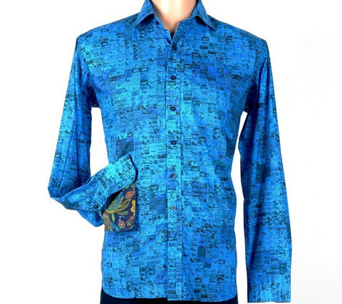 DAVID SMITH 2819 PRINT SHIRT BLUE