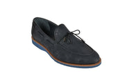 PSM SLIP ON NUBUK LOAFER WITH TIE FRONT TASSLE NAVY
