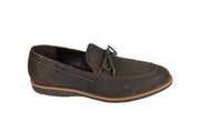 PSM SLIP ON NUBUK LOAFER WITH TIE FRONT TASSLE BROWN