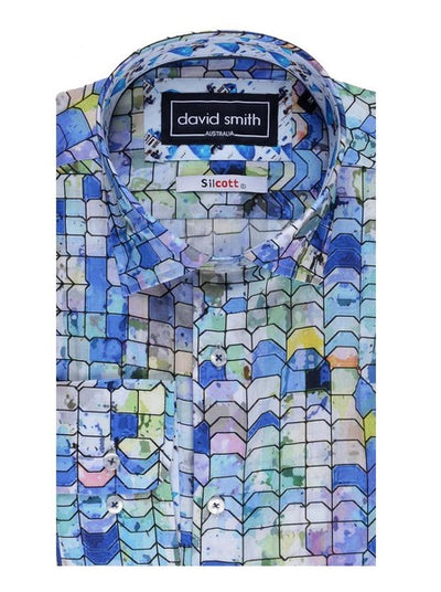 DAVID SMITH DESIGNER PRINT SHIRT SKY