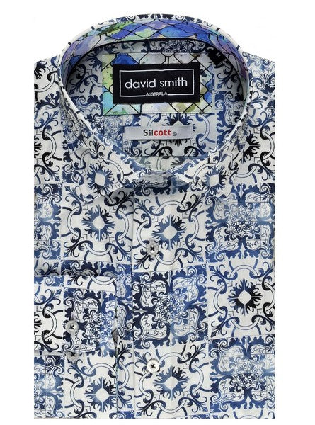 DAVID SMITH DESIGNER PRINT SHIRT BLUE