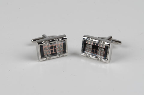 PSM Rectangular Faux Diamond Cufflink BLACK