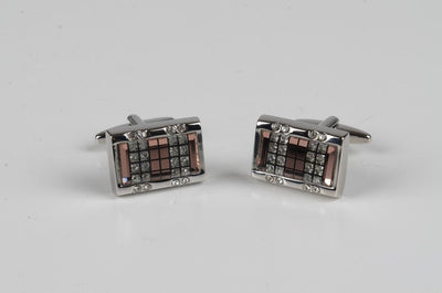 PSM Rectangular Faux Diamond Cufflink BRONZE