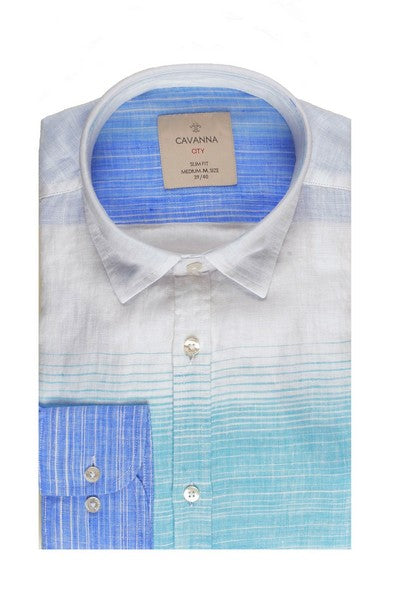 CAVANNA SLIM FIT LINEN SHIRT BLUE