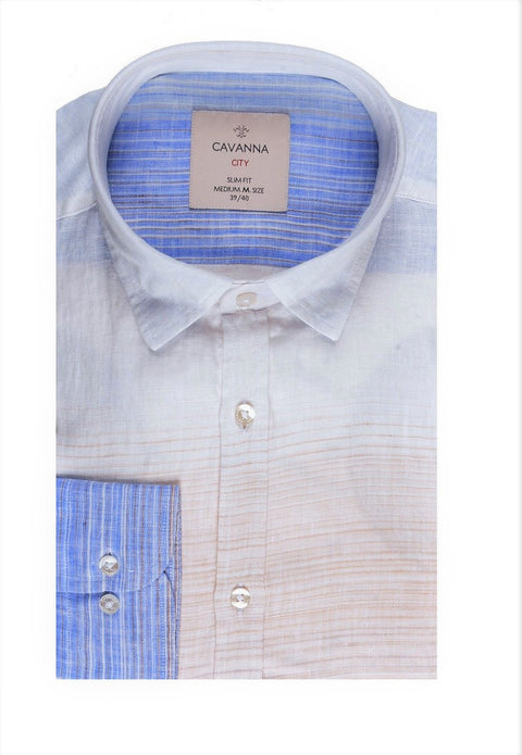 CAVANNA SLIM FIT LINEN SHIRT BEIGE