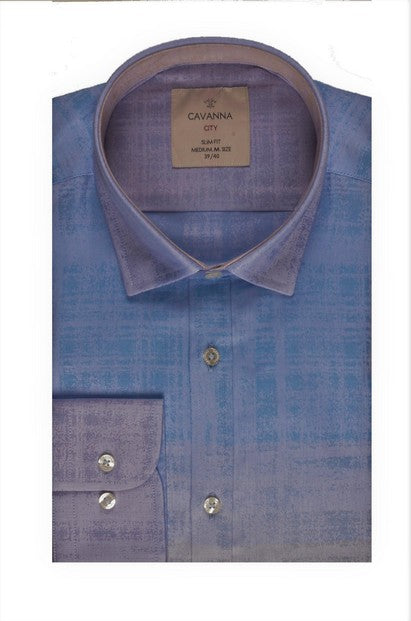 CAVANNA 2 TONE MOTTLED SHIRT BLUE