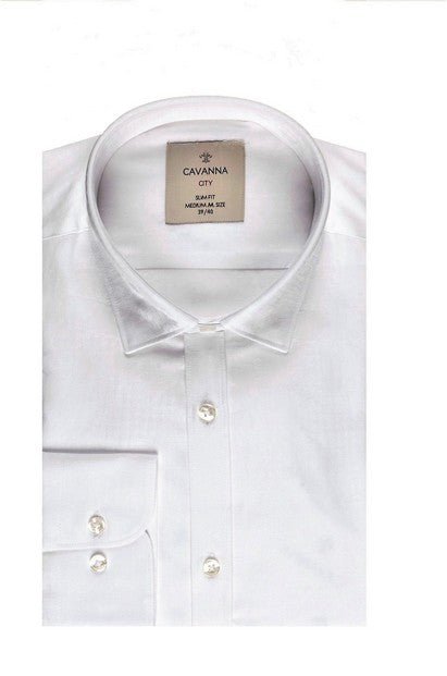 CAVANNA SLIM FIT PRINT SHIRT WHITE