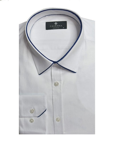 CAVANNA C1 CONTRAST PIPING CITY SHIRT WHITE