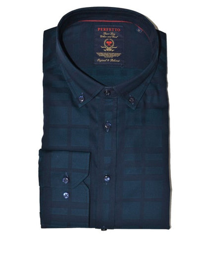 PERFETTO 1399 CHECK SHIRT NAVY