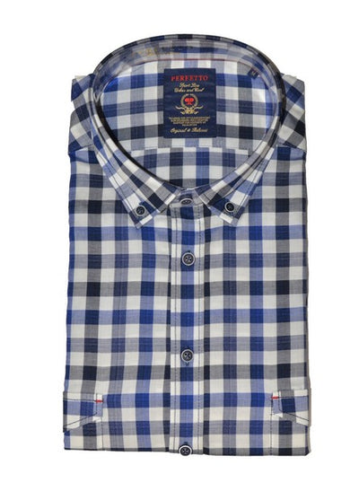 PERFETTO 1391 CHECK SHIRT BLUE