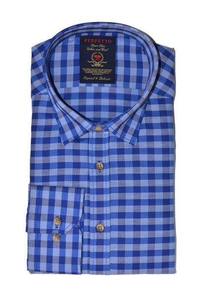 PERFETTO 0947 CHECK SHIRT BLUE