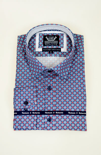 THOMSON AND RICHARDS FANWHEEL SHIRT NAVY