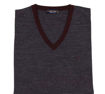 SABRI OZEL 1152 V-NECK TOP BORDO