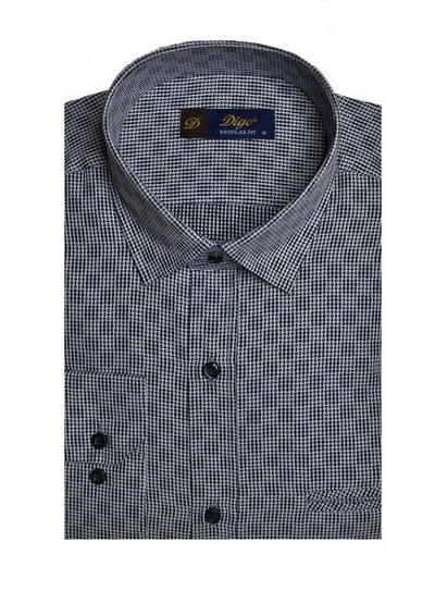 DIGO 16169 JACQUARD CHECK SHIRT NAVY